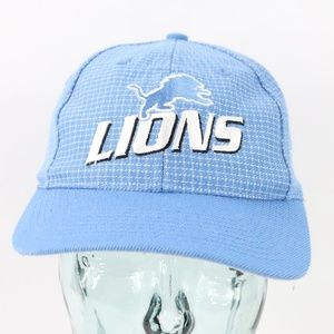 90s Logo Athletic Detroit Lions Strapback Hat Blue